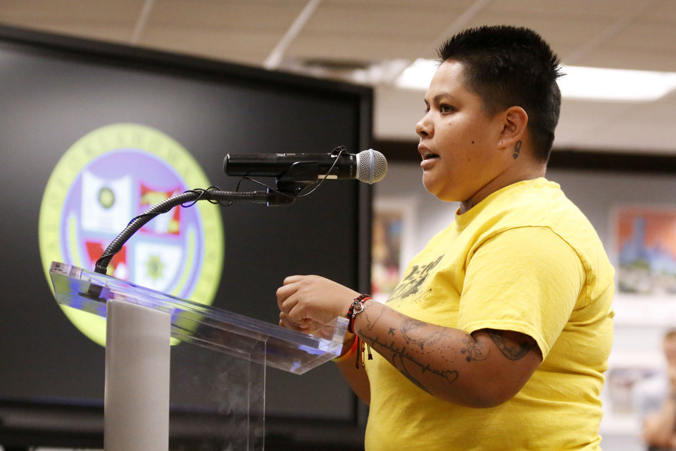 Photo -  Cynthia Garcia addresses the Oklahoma County Jail Trust during public comment on Monday. [Paxson Haws/The Oklahoman]