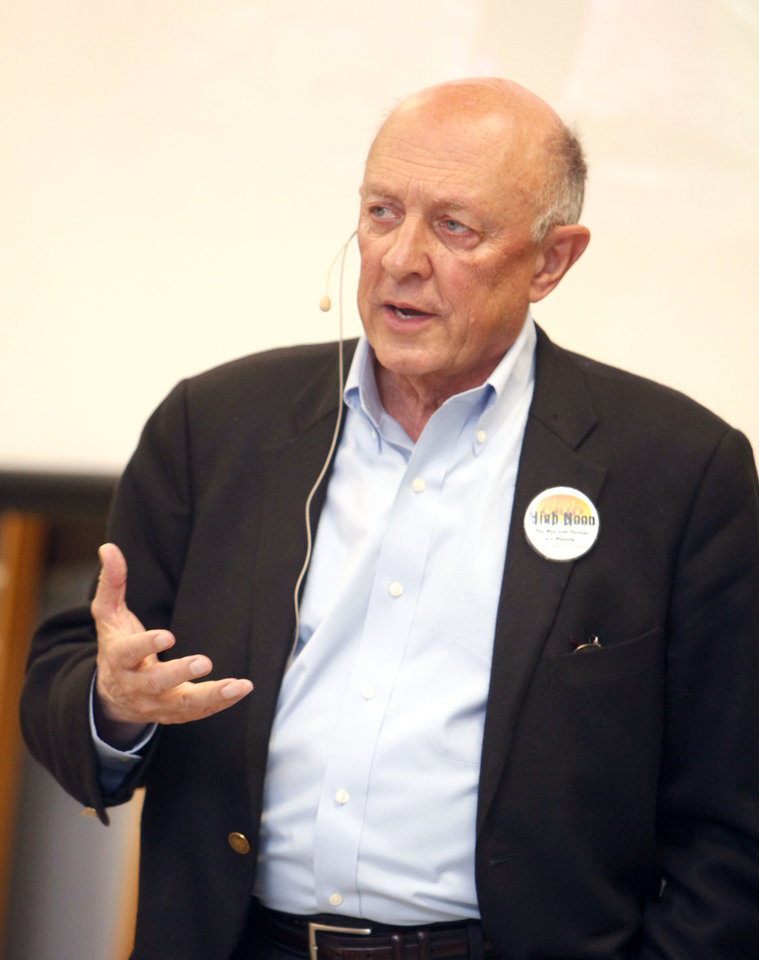 Photo - James Woolsey, former CIA director, speaks to the High Noon Gun Club during their lunchtime meeting at H&H Gun Range in Oklahoma City, OK, Friday, March 30, 2012,  By Paul Hellstern, The Oklahoman