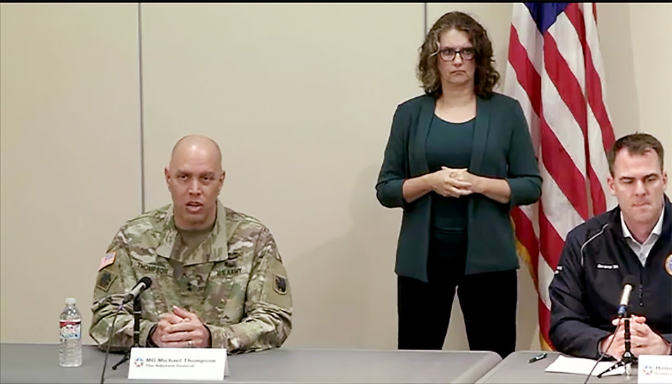 Photo - Maj. Gen. Michael Thompson, Adjutant General, speaks. Oklahoma Gov. Kevin Stitt announced Sunday he will expand a gubernatorial task force to enhance the stateÕs response to the COVID-19 pandemic. Still frame from Facebook Live feed