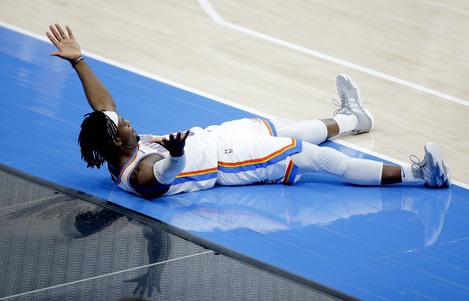 Photo - Oklahoma City's Luguentz Dort (5) reacts after hitting the game winning 3-point basket in the fourth quarter of the NBA basketball game between the Oklahoma City Thunder and the San San Antonio Spurs at the Chesapeake Energy Arena, Wednesday, Feb. 24, 2021. [Sarah Phipps/The Oklahoman]