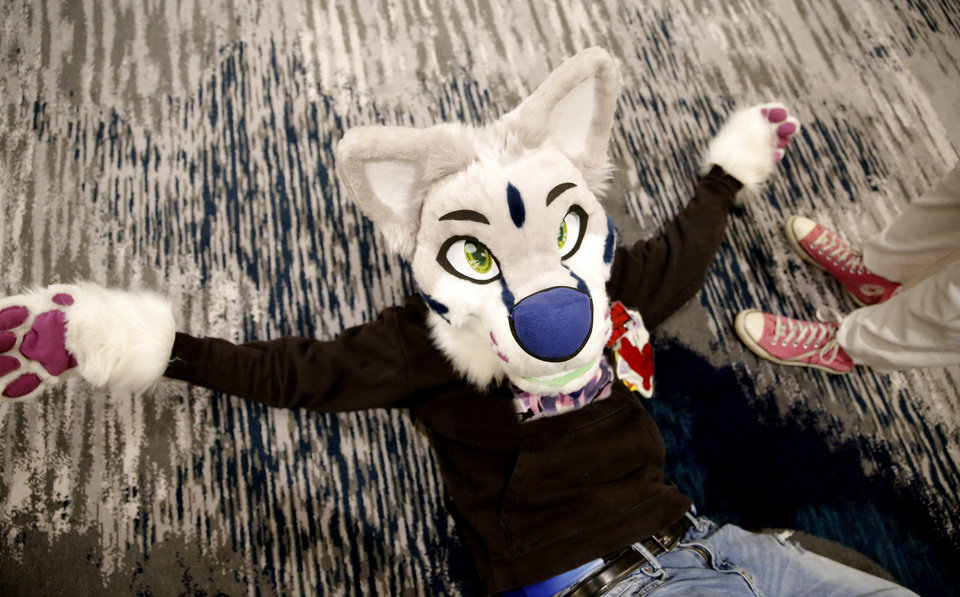 Photo - A furry is pictured during the AnthroExpo 2020 at the Sheraton Oklahoma City Downtown Hotel, Friday, Jan. 31, 2020.  [Sarah Phipps/The Oklahoman]