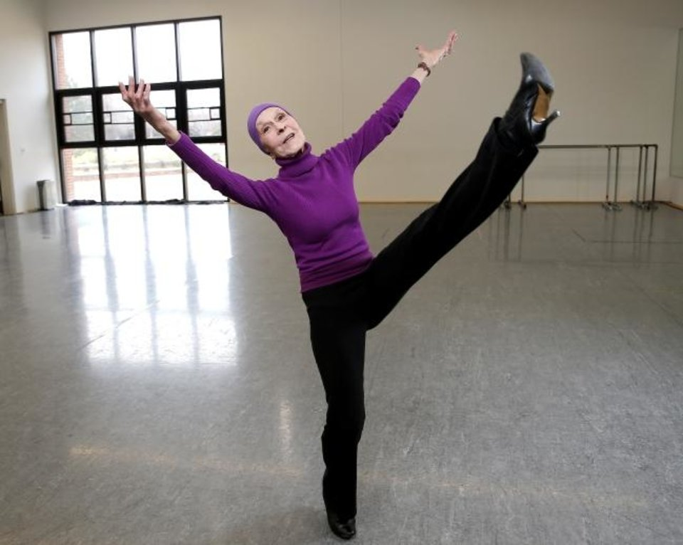 Photo -  Jo Rowan, chairman of the Ann Lacy School of American Dance & Entertainment and founder of the Oklahoma City University dance program, poses in an OCU dance studio. [Sarah Phipps/The Oklahoman]