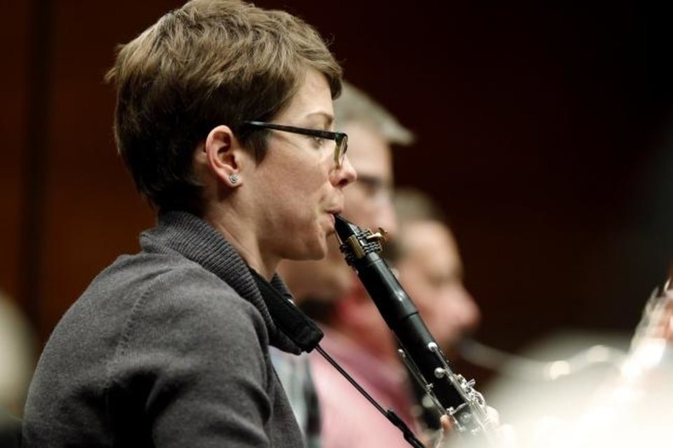 Photo -  Clarinetist Tara Heitz rehearses in 2018 with the Oklahoma City Philharmonic.  [The Oklahoman Archives]