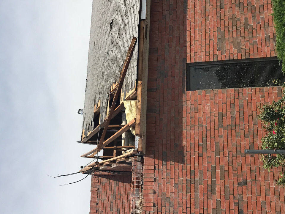 Photo - Southern Hills Baptist Church, 2501 W Country Club Road, Chickasha, sustained damage in storms Tuesday in Grady County. Photo By Dale Thompson, Grady County Emergency Management Agency director.