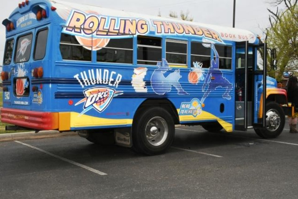 "Photo -  The Oklahoma City Thunder ""Rolling Thunder Book Bus"