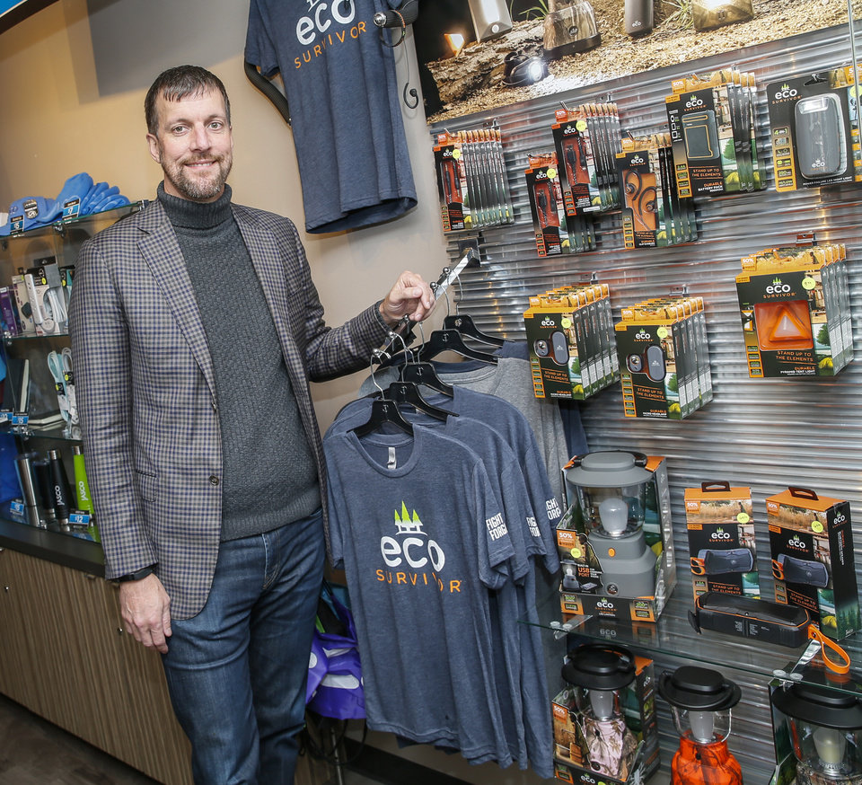 Photo -  Jason Trice, president and CEO of Jasco, stands with EcoSurvivor products in the store at Jasco. [Photo by Nate Billings, The Oklahoman]