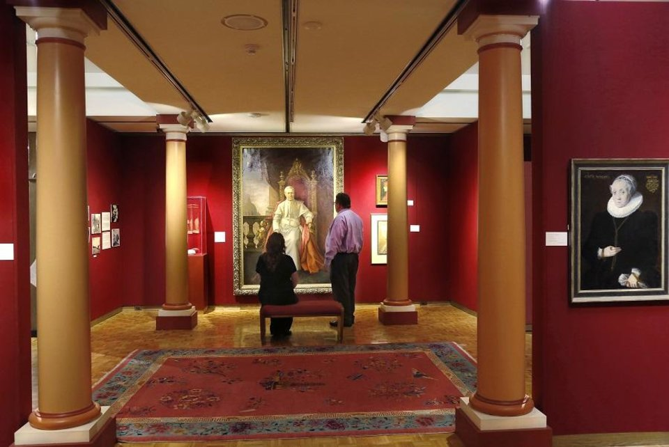 Photo - Father Gregory Gerrer's 1904 portrait of Pope Pius X is among the artwork from around the world exhibited at the Mabee-Gerrer Museum of Art Friday, Aug. 9, 2019, in Shawnee. Founded by Gerrer, the museum is celebrating its 100th anniversary in 2019. [Jim Beckel/The Oklahoman]