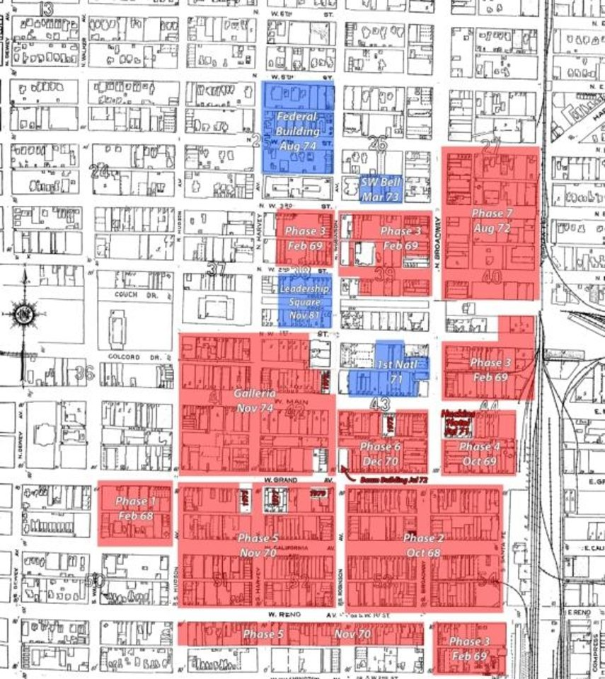 Photo -  The red and blue shades on the map show where buildings were to be torn down and replaced with development. In some cases, entire streets were eliminated to make way for the convention center, gardens and a never-built Galleria shopping mall. [URBAN RENEWAL ARCHIVES]