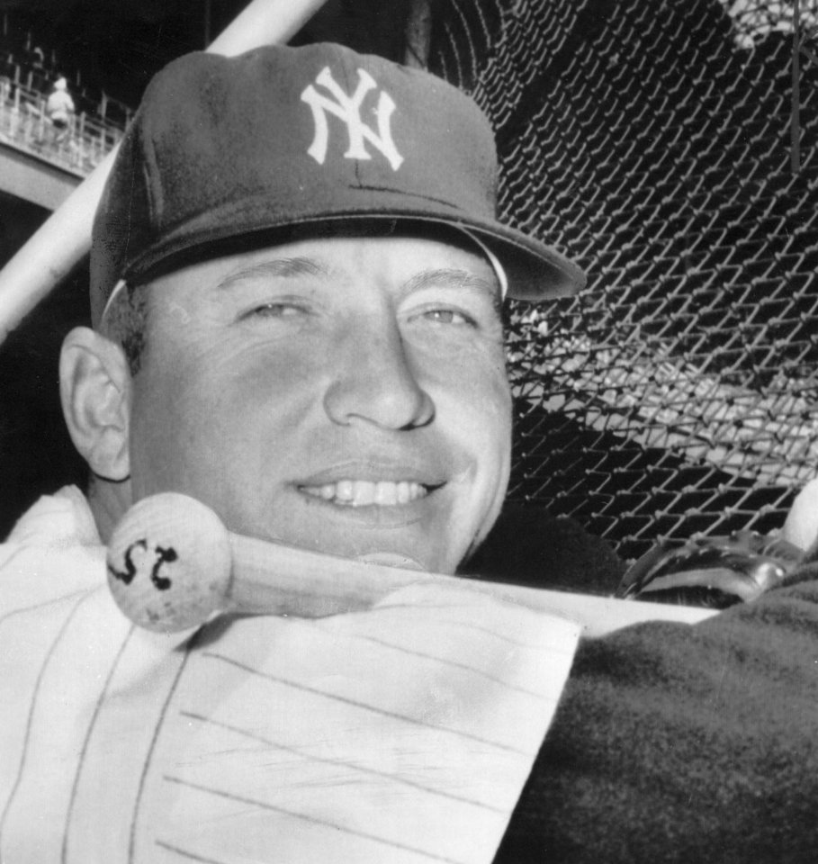 Photo - Mickey Mantle, first base, New York Yankees baseball.  Former Oklahoman. 4/18/1963