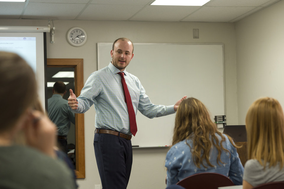 Photo - Dr. Jonathan Wilson speaks to students. Photo provided by OBU.