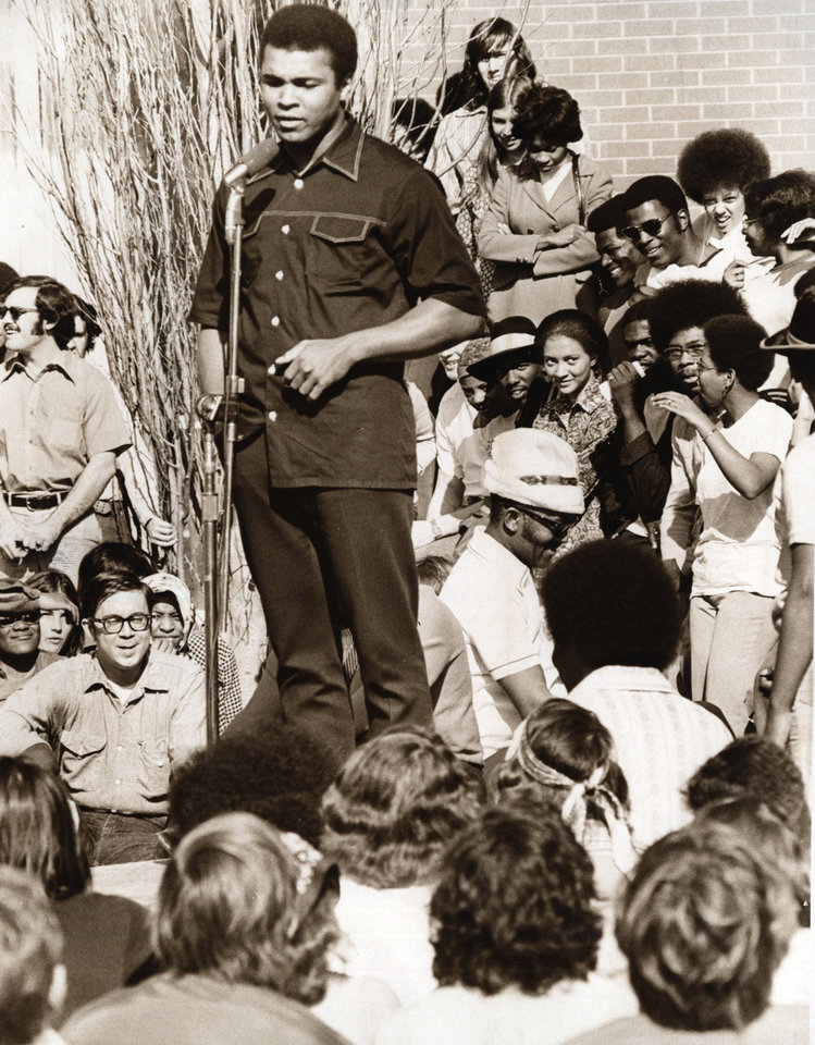 Photo -  Muhammad Ali speaks to University of Oklahoma students during a visit on Feb. 21, 1972. [Oklahoman archive photo]