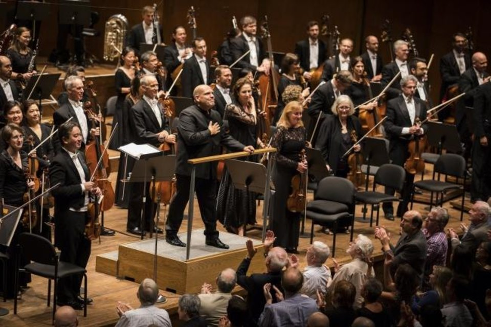 Photo -  Jaap van Zweden conducts the New York Philharmonic. [Photo by Chris Lee]
