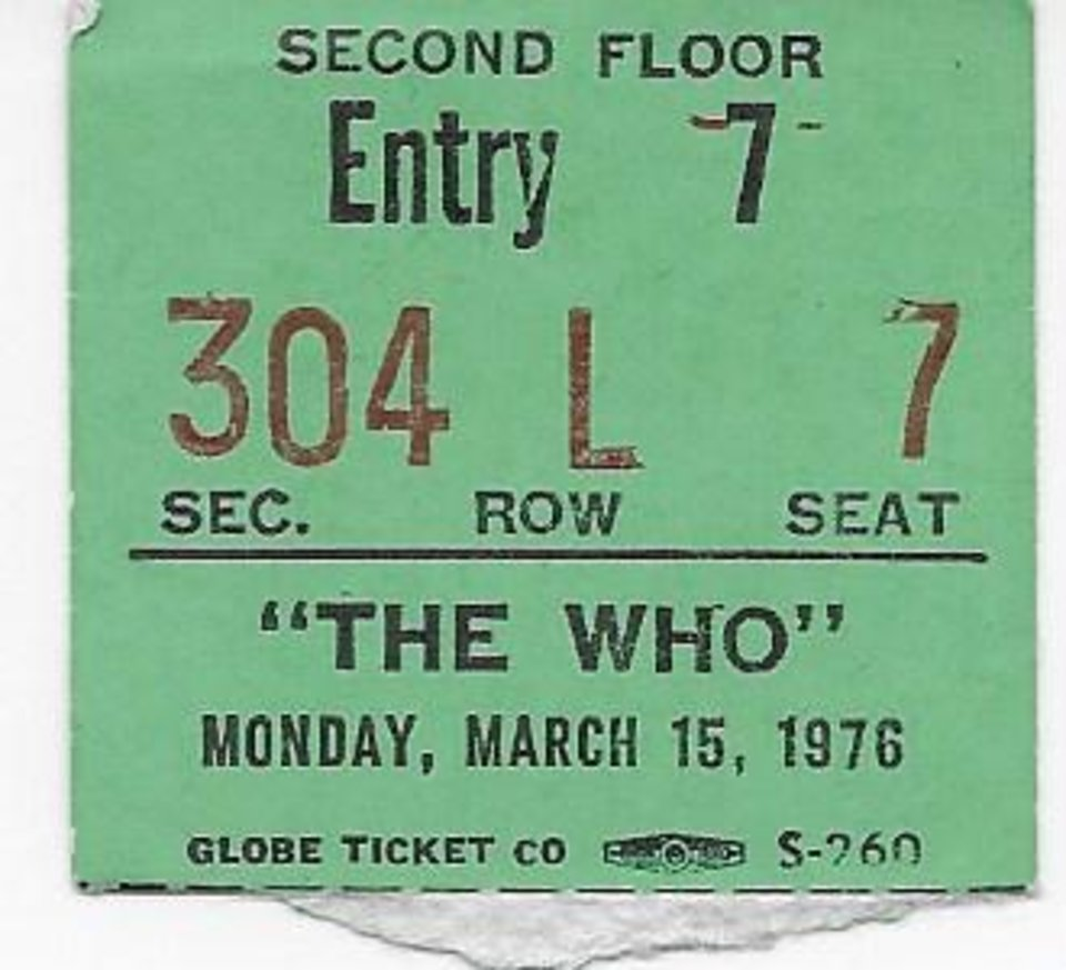 Photo -  Edmond native John Fletcher, 57, shared his ticket stub from The Who concert in Oklahoma City. [Photo provided]