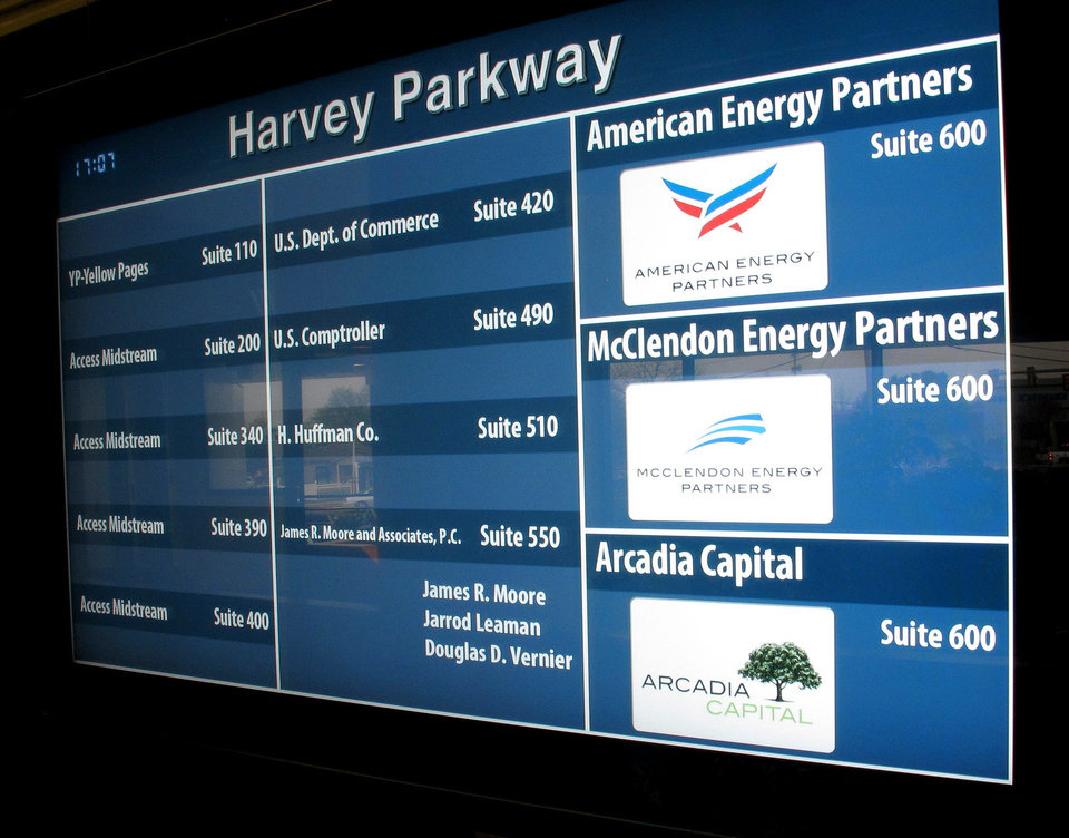Photo - Harvey Parkway Building at 301 NW 63rd where Aubrey McClendon is starting a new energy company. American Energy Partners, McClendon Energy Partners and Arcadia Capitol all are listed in the lobby. Wednesday, April 17, 2013.  Photo by Doug Hoke, The Oklahoman