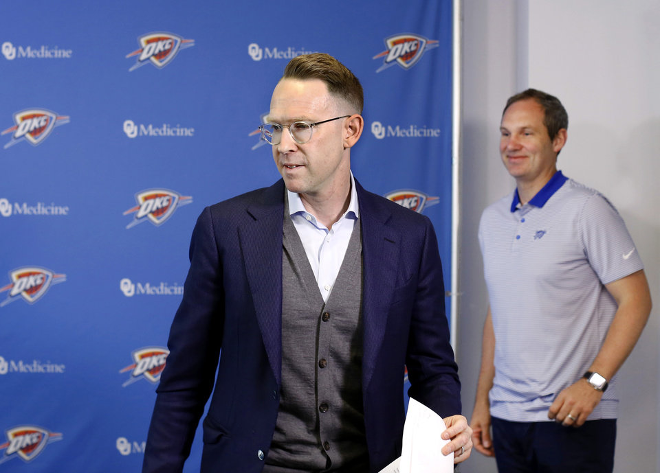 Photo - Sam Presti, general manager of the Oklahoma City Thunder basketball team,  smiles as he leaves the room after meeting with members of local media for nearly an hour Monday morning, April 29, 2019, at his annual postseason press conference at the Thunder practice facility. [Jim Beckel/The Oklahoman]