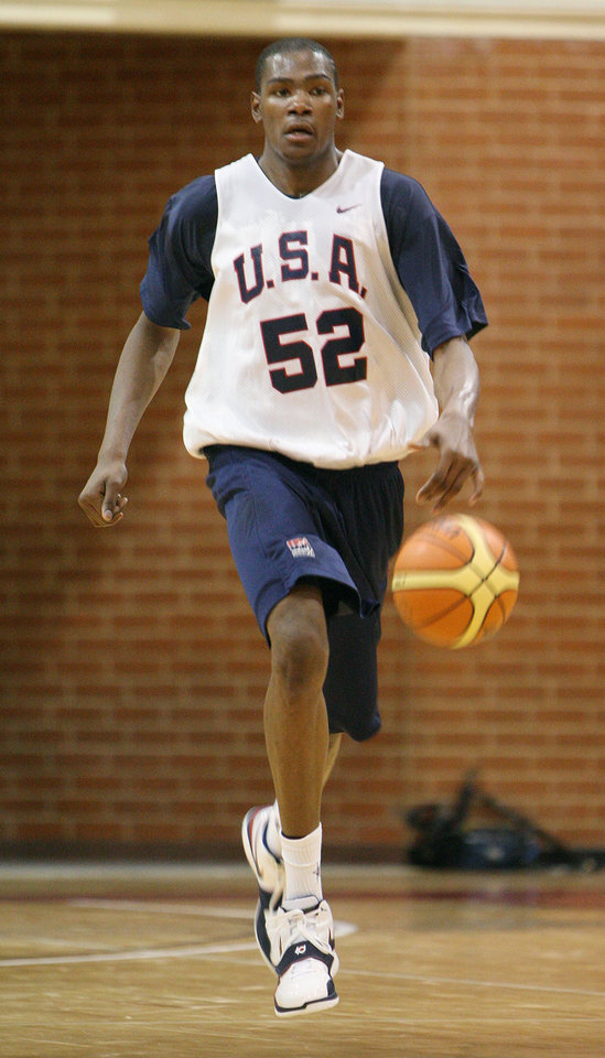 398dced2087 U.S.   UNITED STATES  Oklahoma City Thunder s Kevin Durant drives down the  court during a USA basketball team practice at Valley High School on  Thursday