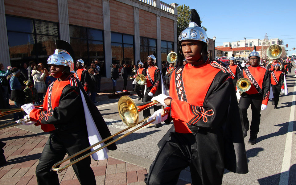 Photo - Douglass High School Marching Band at the MLK Day Parade along Walker Ave. during celebrations of Dr. Martin Luther King, Jr. holiday, Monday, January 20, 2019. [Photo by Doug Hoke/The Oklahoman]