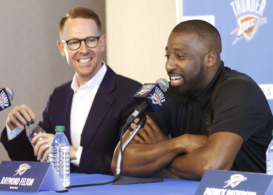 Photo -  Thunder general manager Sam Presti, left, signed Raymond Felton to be Russell Westbrook's backup. The Thunder is waiting to see if Westbrook signs a five-year contract extension this summer. [PHOTO BY JIM BECKEL, THE OKLAHOMAN]