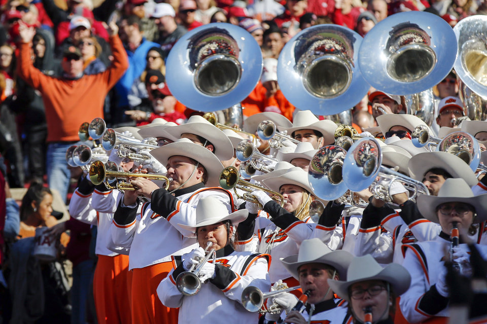 Photo - The OSU band plays during a Bedlam college football game between the University of Oklahoma Sooners (OU) and the Oklahoma State University Cowboys (OSU) at Gaylord Family-Oklahoma Memorial Stadium in Norman, Okla., Nov. 10, 2018. Photo by Nate Billings, The Oklahoman