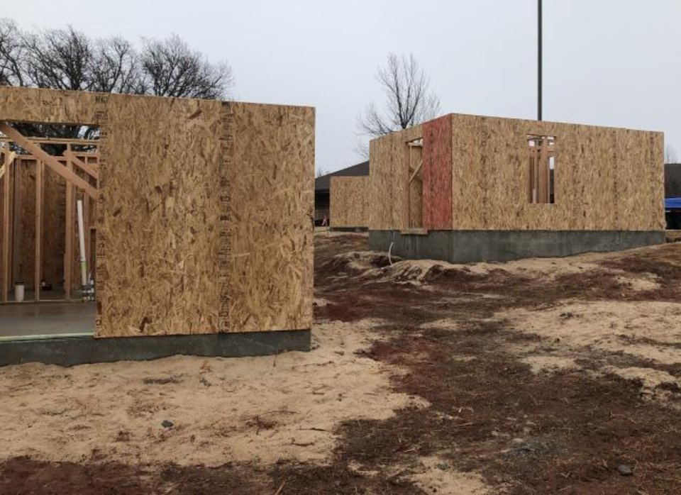 Photo -  Walls up at tiny houses by nonprofit Pivot Inc. [PHOTO PROVIDED]