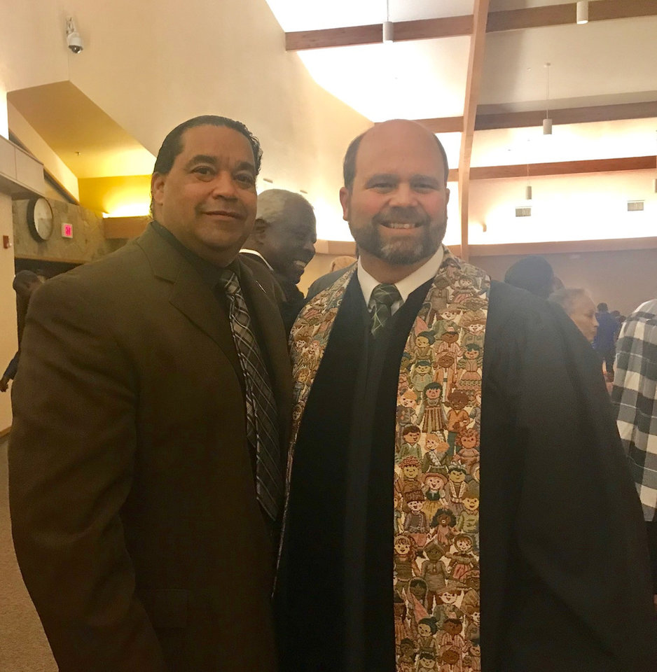 Photo -  Barry Jacobs, associate pastor of Wildewood Christian Church (Disciples of Christ), poses for a picture with the Rev. Daniel U'Ren during the