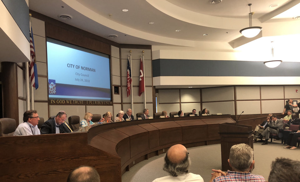 Photo -  Norman City Council met Tuesday night and withdrew a resolution for tax increment financing for a new arena and entertainment district. [PHOTO BY DAVID DISHMAN, THE OKLAHOMAN]