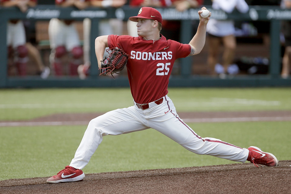 Photo - Oklahoma's Levi Prater pitches during a bedlam baseball game between Oklahoma State University (OSU) and the University of Oklahoma (OU) in Norman, Okla., Sunday, May 12, 2019. [Bryan Terry/The Oklahoman]