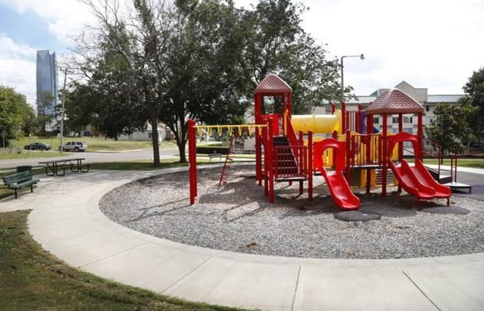 Photo -  Playground on the east side of Red Andrews Park, on NW 8 between Lee and Shartel, in late 2016. [The Oklahoman Archives]