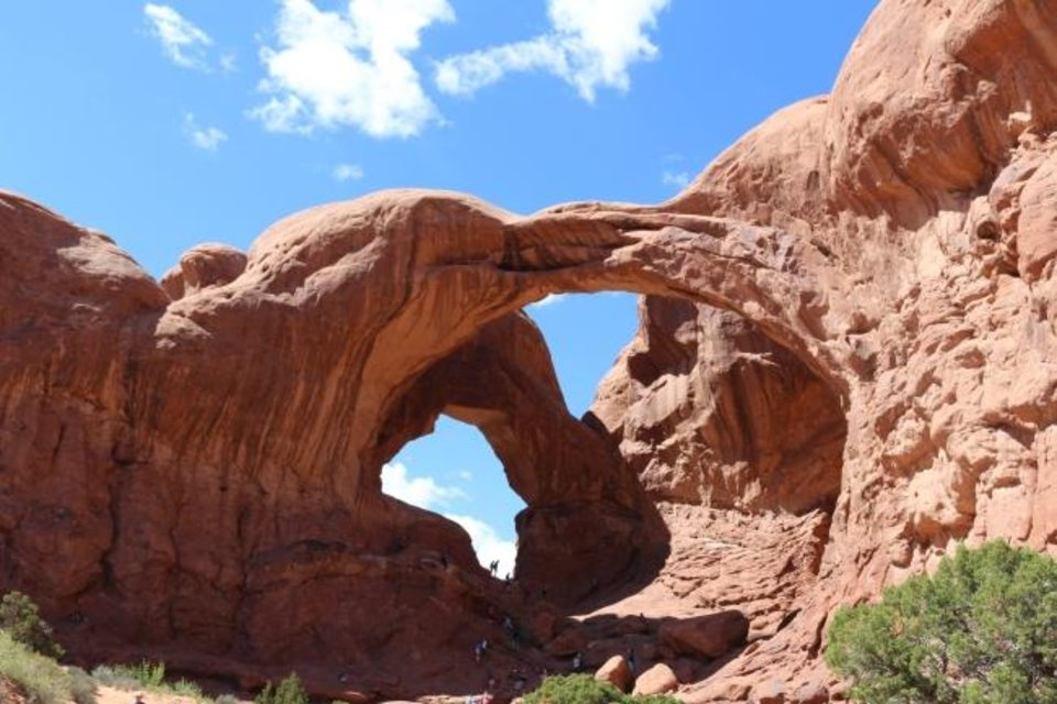 Photo -  Windows glare like two monster eyes in Arches National Park, Utah. [Photo Provided]