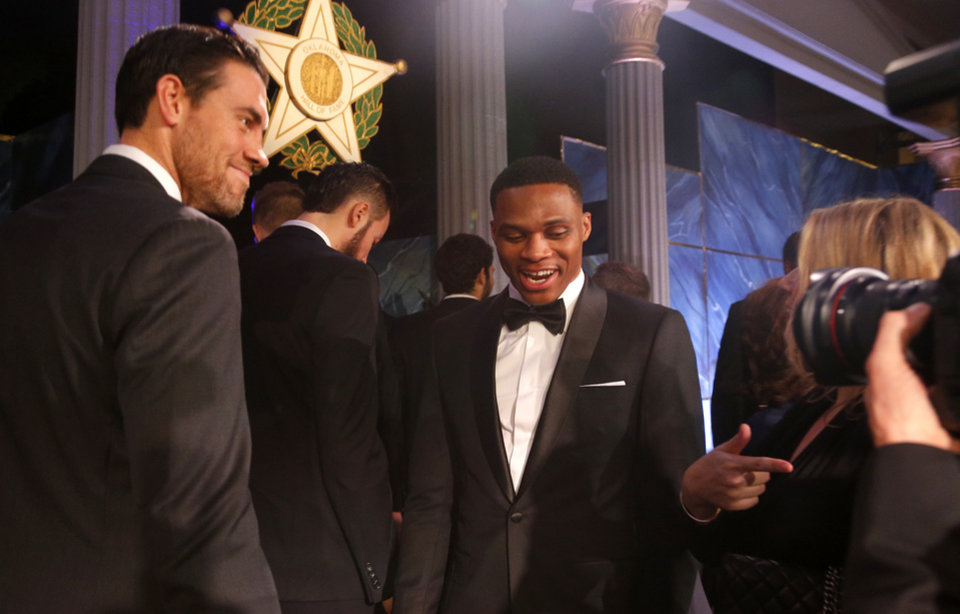 Photo - Russell Westbrook talks with Nick Collison before the induction ceremony for the Oklahoma Hall of Fame at the Cox Convention Center in Oklahoma City in Oklahoma City,  Thursday, Nov. 17, 2016. Photo by Sarah Phipps, The Oklahoman