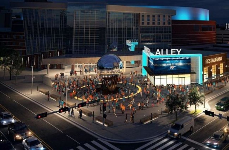 Photo -  Revised development plans for a proposed Thunder Alley south of the Chesapeake Energy Arena are being submitted to the Downtown Design Review Committee following recent developer designation by the Oklahoma City Urban Renewal Authority. [PROVIDED]