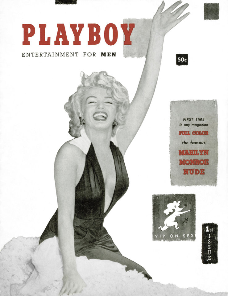 Photo - This image released by Playboy shows Marilyn Monroe on the cover of their December 1953 issue. Playboy founder Hugh Hefner died Wednesday, Sept.  27, 2017 at age 91. (Playboy via AP)