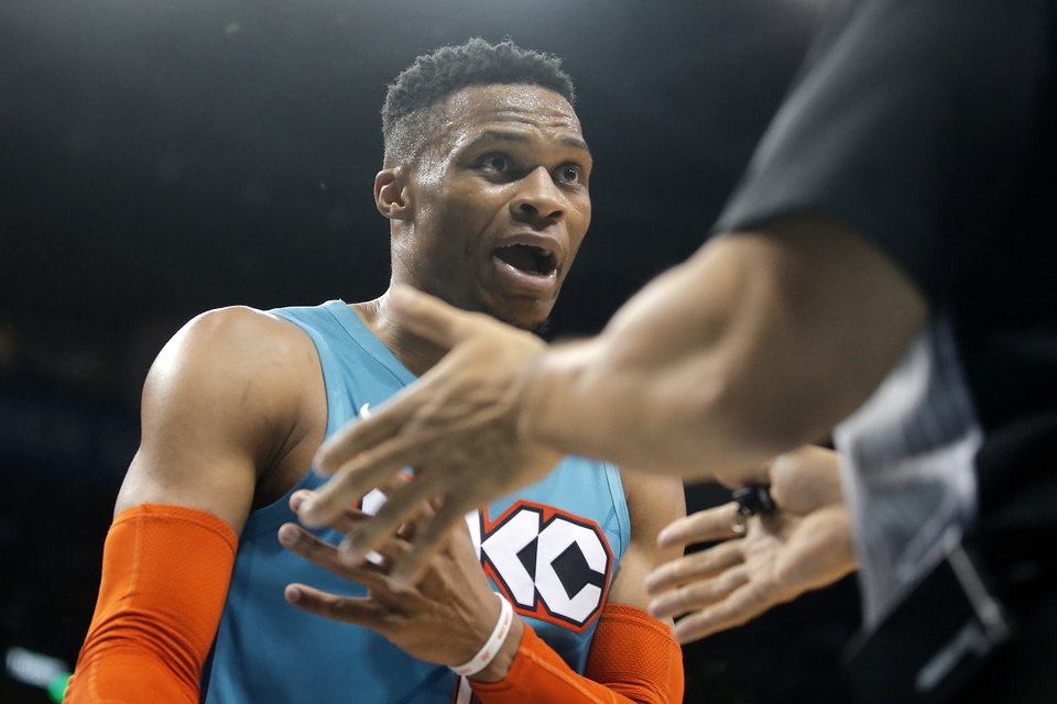 Photo - Oklahoma City's Russell Westbrook (0) argues with an official during an NBA basketball game between the Oklahoma City Thunder and the Washington Wizards at Chesapeake Energy Arena in Oklahoma City, Sunday, Jan. 6, 2019. Photo by Bryan Terry, The Oklahoman