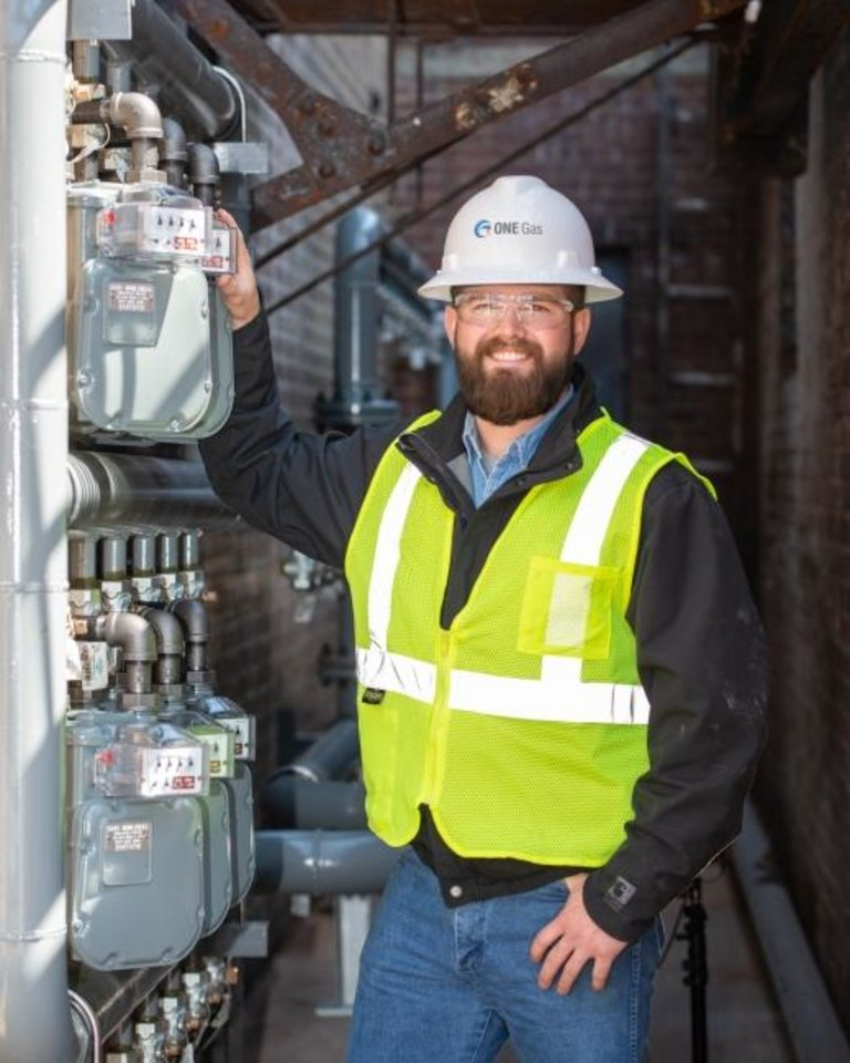 Photo -  ONE Gas field technician Jake Vandiver. [PROVIDED]