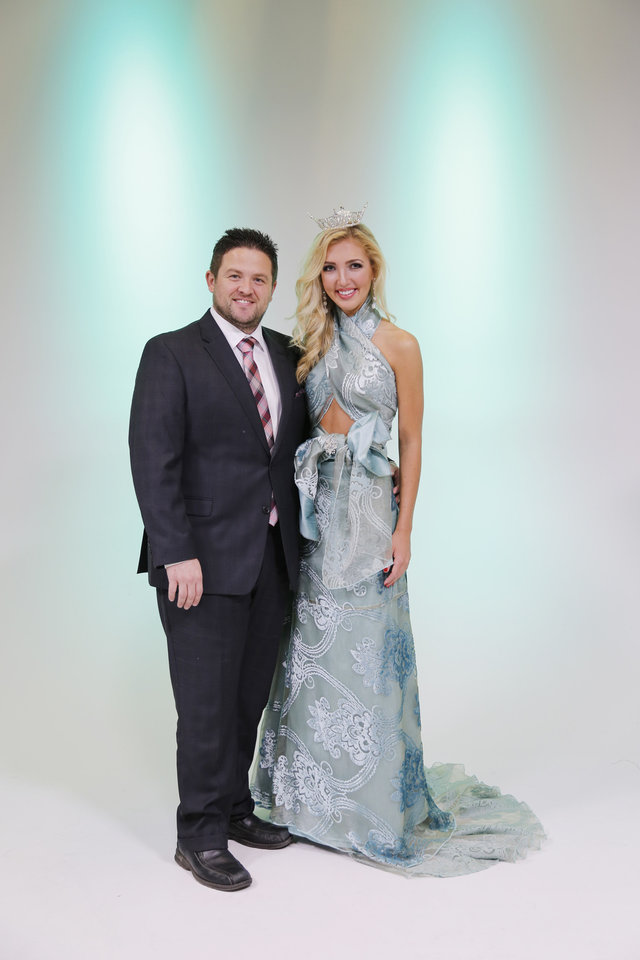 Photo -  Brent Patterson and Miss Edmond LibertyFest Sarah Klein pose for a photo, promoting Marianne's Rentals' 2015 Linen Runway Show to raise funds for Children's Miracle Network Hospitals and the Miss Oklahoma Scholarship Pageant. Photo by Doug Hoke, The Oklahoman   DOUG HOKE -  THE OKLAHOMAN