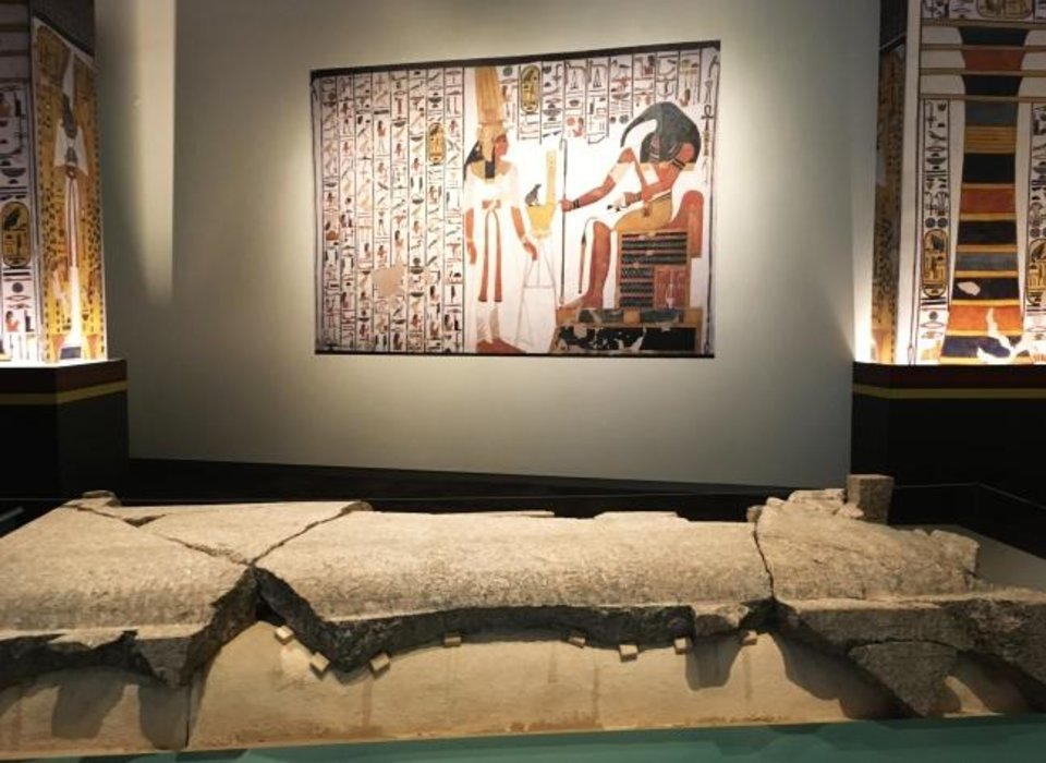 Photo -  Nefertari's tomb was looted in ancient times with only the broken granite sarcophagus lid and a few artifacts remaining when archaeologists excavated the site [E. Warner)]