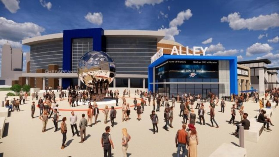 Photo -  Revised development plans for a proposed Thunder Alley show a digital video board-wrapped structure along Oklahoma City Boulevard. [PROVIDED]