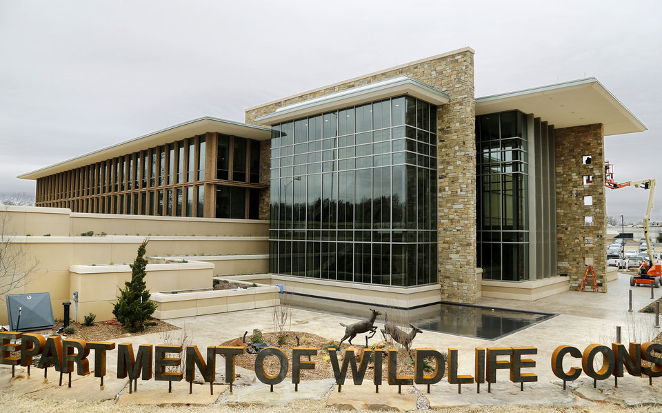 Photo - Exterior (east side of building) of the Wildlife Department headquarters on N. Lincoln Blvd., south of the state Capitol.  The state agency is hosting an open house Monday for the renovated building. Photo by Jim Beckel, The Oklahoman.
