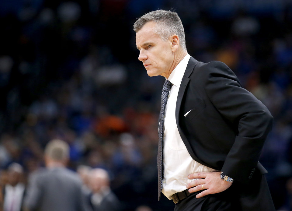 Photo - Oklahoma City head coach Billy Donovan takes a time out during the NBA game between the Oklahoma City Thunder and Golden State Warriors at Chesapeake Energy Arena,  Sunday, Oct. 27, 2019. Thunder won 120-92.[Sarah Phipps/The Oklahoman]