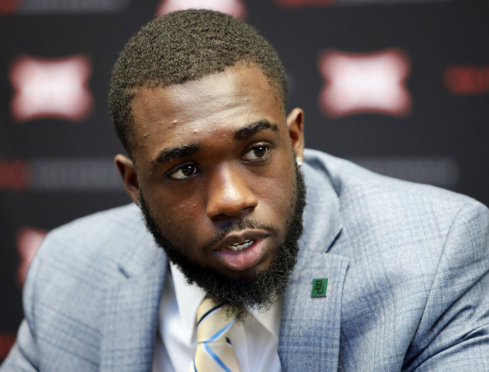 Photo - Baylor wide receiver Denzel Mims speaks during Big 12 Conference NCAA college football media day Tuesday, July 16, 2019, at AT&T Stadium in Arlington, Texas. (AP Photo/David Kent)