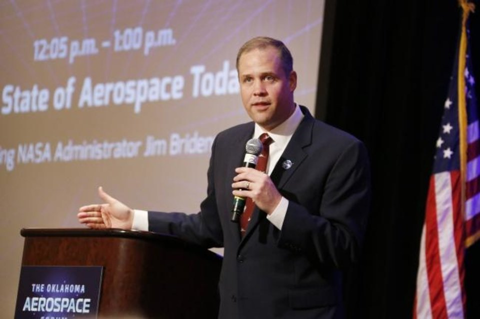 Photo -  NASA Administrator Jim Bridenstine speaks last year in downtown Oklahoma City. [The Oklahoman Archives]
