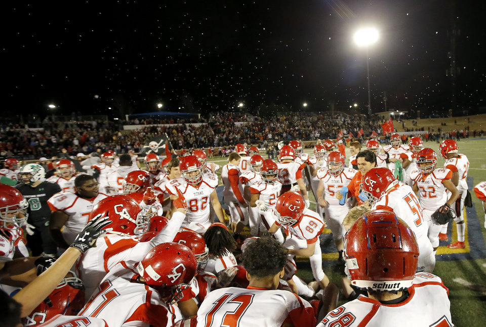 Photo - Carl Albert celebrates the 5A state football championship over McGuinness at Wantland Stadium in Edmond, Okla., Saturday, Dec. 7, 2019. [Sarah Phipps/The Oklahoman]