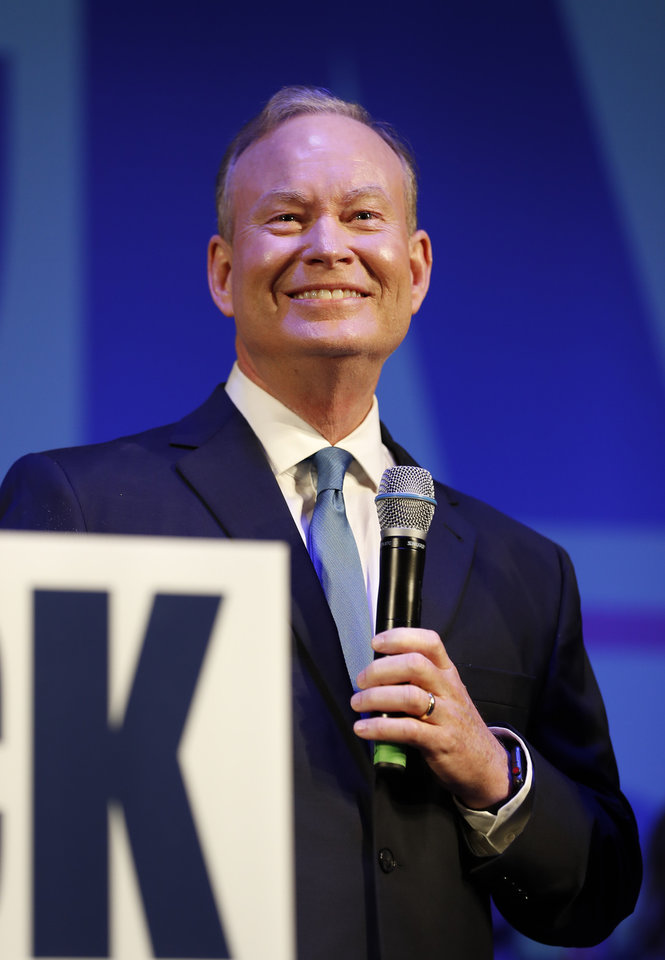 Photo - Mick Cornett speaks to supporters and volunteers at his watch party inside the Tower Theater after winning the Republican primary for Oklahoma Governor in Oklahoma City, Okla. on Tuesday, June 26, 2018. (Photo by Alonzo Adams for The Oklahoman)