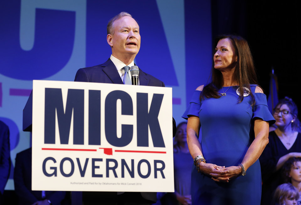 Photo - Mick Cornett speaks to supporters and volunteers at his watch part inside the Tower Theater after winning the Republican primary for Oklahoma Governor in Oklahoma City, Okla. on Tuesday, June 26, 2018. (Photo by Alonzo Adams for The Oklahoman)