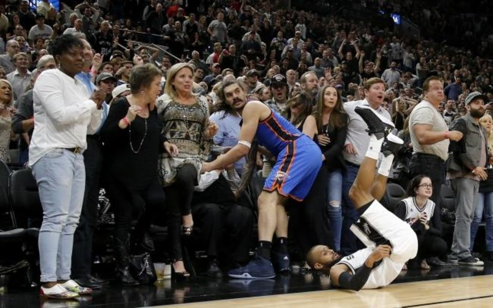 Photo -  Oklahoma City's Steven Adams (12) and San Antonio's Patty Mills (8) watch Mills' shot in the final seconds of Game 2 of the second-round playoff series on May 2, 2016. The Thunder won 98-97. [Bryan Terry/The Oklahoman]