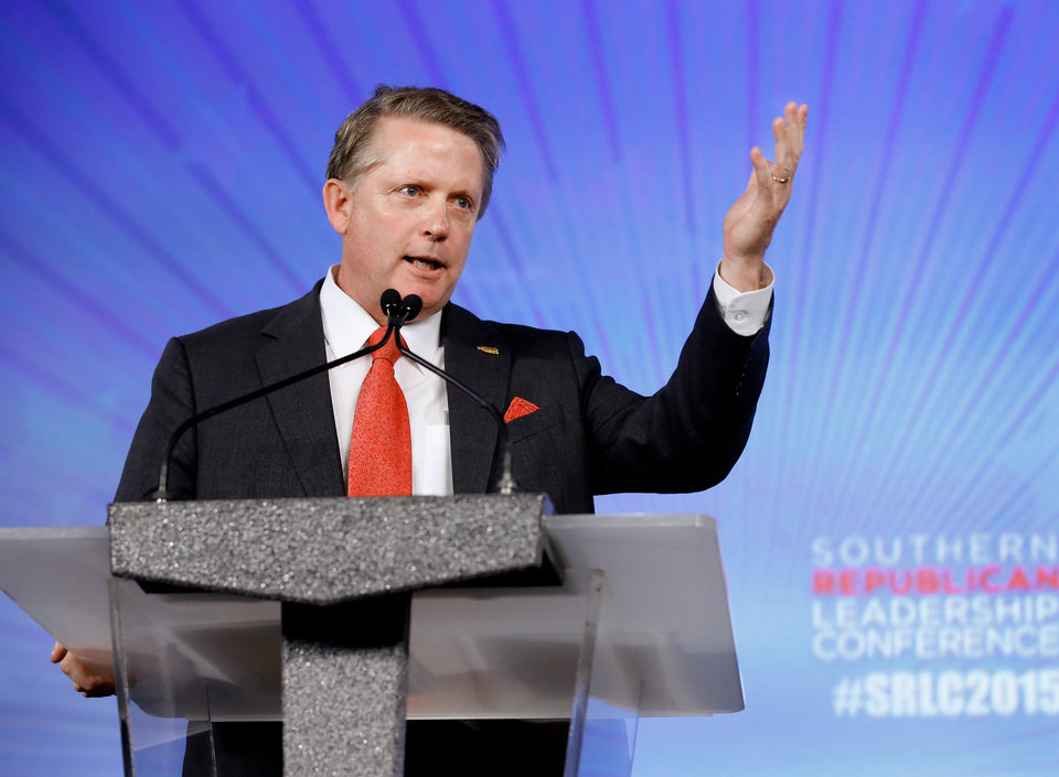 Photo - Oklahoma Labor Commissioner Mark Costello speaks at the Southern Republican Leadership Conference at the Cox Convention Center in downtown Oklahoma City on Thursday, May 21, 2015. Photo by Jim Beckel, The Oklahoman.