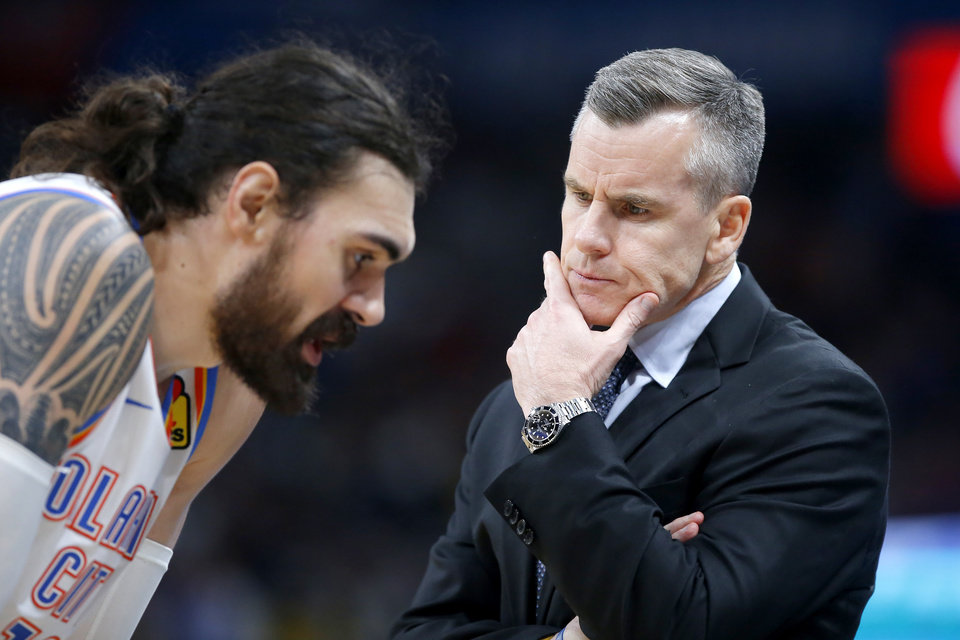 Photo - Oklahoma City coach Billy Donovan talks with Oklahoma City's Steven Adams (12) during an NBA basketball game between the Oklahoma City Thunder and the San Antonio Spurs at Chesapeake Energy Arena in Oklahoma City, Tuesday, Feb. 11, 2020. San Antonio won 114-106. [Bryan Terry/The Oklahoman]