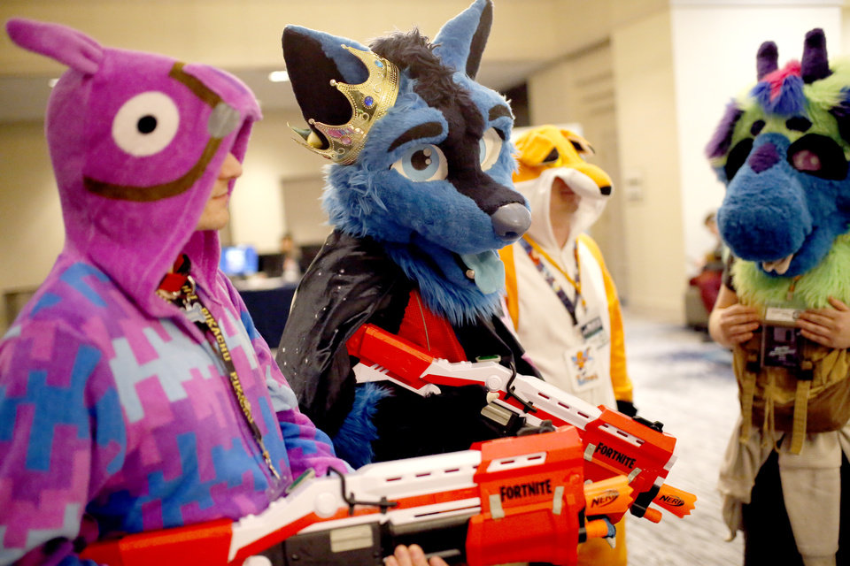 Photo - Furries gather at the AnthroExpo 2020 at the Sheraton Oklahoma City Downtown Hotel, Friday, Jan. 31, 2020.  [Sarah Phipps/The Oklahoman]