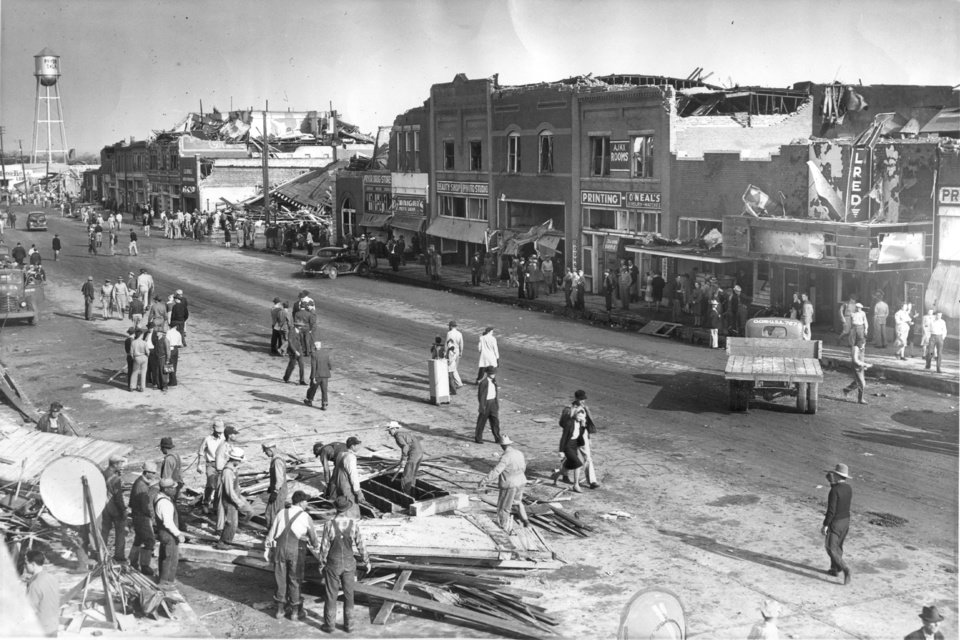 Photo - APRIL 27, 1942 TORNADO: Main Street Pryor, Okla. after tornadoes hit the state in 1942. Print dated 5/22/1942. Staff photo by Ray Chanaud.