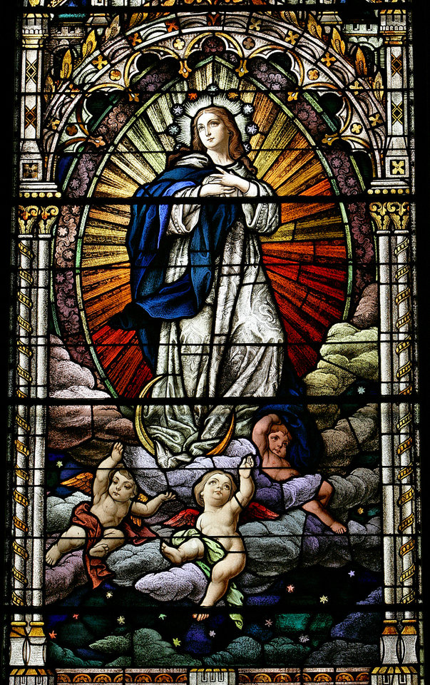 Photo - Stained glass panels depicting the life of Mary of Nazareth at the Our Lady Cathedral on Thursday, Nov. 16, 2006, in Oklahoma City, Okla.      by Chris Landsberger, The Oklahoman  ORG XMIT: KOD
